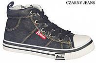 """Подростковые высокие кеды 467/17""""American Club""""(черный джинс) размеры 36-40"""