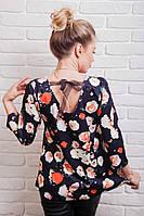 Модная кофточка женская с ленточкой из органзы на спине