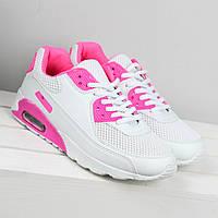 Кроссовки женские Nike Air Max белые с розовым, спортивная обувь