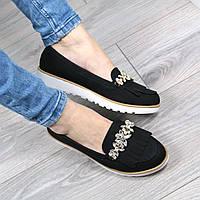 Туфли лоферы женские Crystal черные, женская обувь