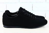Туфли мужские черные замшевые на шнурках