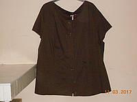 Поплиновая коричневая блуза на пуговицах 60-64 размера Bonprix