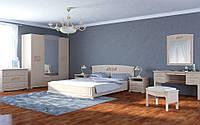 Спальня оригинальная шкаф, прикроватные тумбы, комод, зеркало, кровать без матраса Катерина