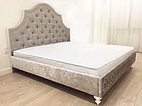"""Двуспальная кровать """"Stylish"""" 160*200 с мягким узорным изголовьем и гвоздиками на резных ножках"""