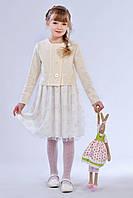 Нарядный детский костюм для девочки (платье и жакет) молочного цвета