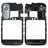 Рамка корпуса с защитным стеклом камеры для мобильного телефона HTC T328e Desire X, с антеной, с синей накладкой, черная