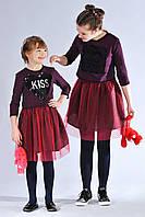 Подростковый костюм для девочки с пайетками (платье и кофта) цвета баклажан