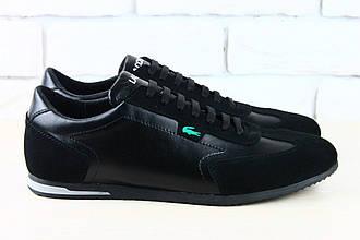 Кроссовки мужские в стиле  Lacoste черные кожаные