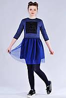 Подростковый костюм для девочки Chanel (платье и кофта) цвета электрик