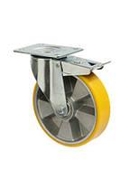 """Колесо поворотное """"Norma"""" с крепёжной панелью и тормозом,диаметр -125мм"""