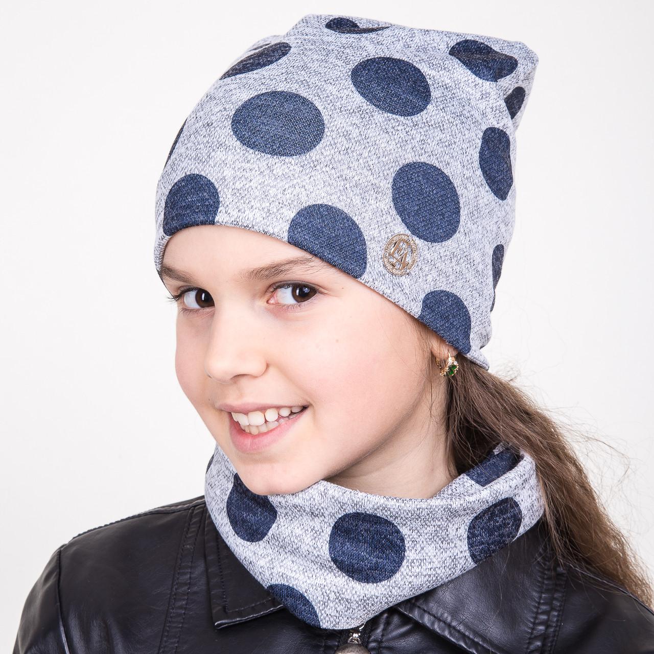 Весенний комплект в крупный горошек из шапки и хомута для девочки - Артикул 2010