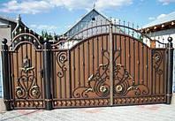 """Кованые ворота с калиткой и столбами.  Возможно с установкой. Высококачественная покраска эмалью """"Alpine""""."""