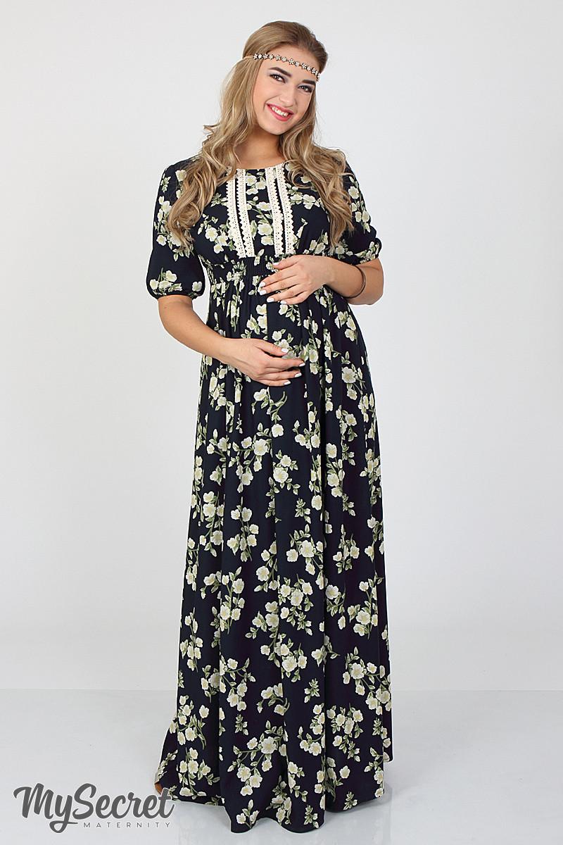 bf92daa29b74 Шикарное длинное платье для беременных и кормления Tamana, жасмин на синем,  фото 1
