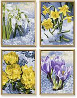 9340713 Раскраски по номерам - Весеннее пробуждение цветов, 18х24см, 4 картины