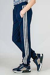Детские трикотажные штаны спортивные брюки подростковые синие на манжете Унисекс Украина