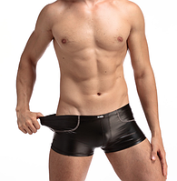 Сексуальные мужские виниловые, кожаные трусы размер Л
