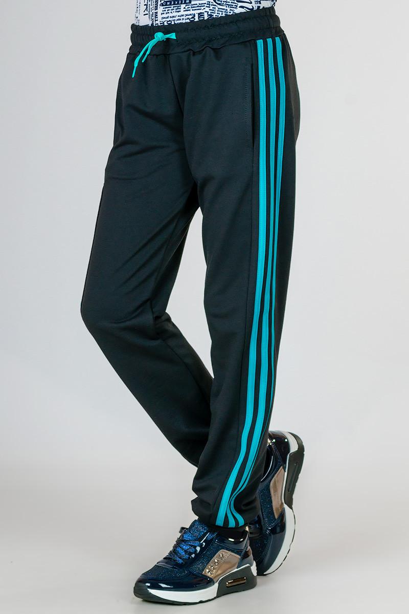 Дитячі спортивні штани для дівчаток: штани чорні трикотажні з лампасами на гумці (манжет) Україна