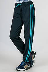 Детские спортивные штаны для девочек брюки черные трикотажные с лампасами на резинке (манжет) Украина