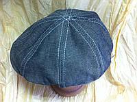 Кепка восьмиклинка мужская  серая из джинсы 58-59