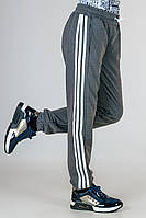 Детские трикотажные штаны спортивные брюки подростковые серые на манжете Унисекс Украина