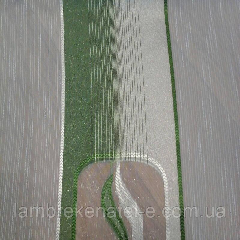 Тюль лен облегченный бело-зеленый