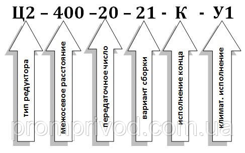 Условное обозначение редуктора Ц2-400