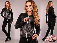 Женский  модный черный спортивный костюм со вставками перфорированной эко-кожи . Арт-2207/30
