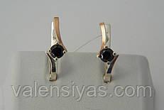 Серебряные женские серьги с черными цирконами и золотом