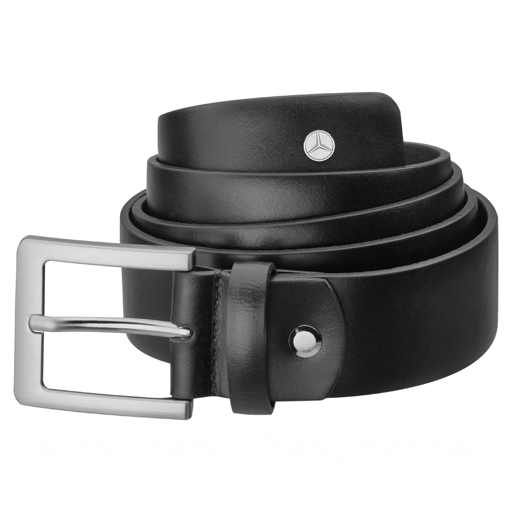 Мужской кожаный ремень Mercedes-Benz Men's Belt, Business, Black, Calfskin