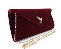 Вечерний велюровый клатч марсала/темно-бордовый, сумочка Rose Heart 103170, расцветки