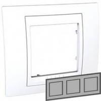 Рамка 3-местная горизонтальная Unica Plus (белый/белый)