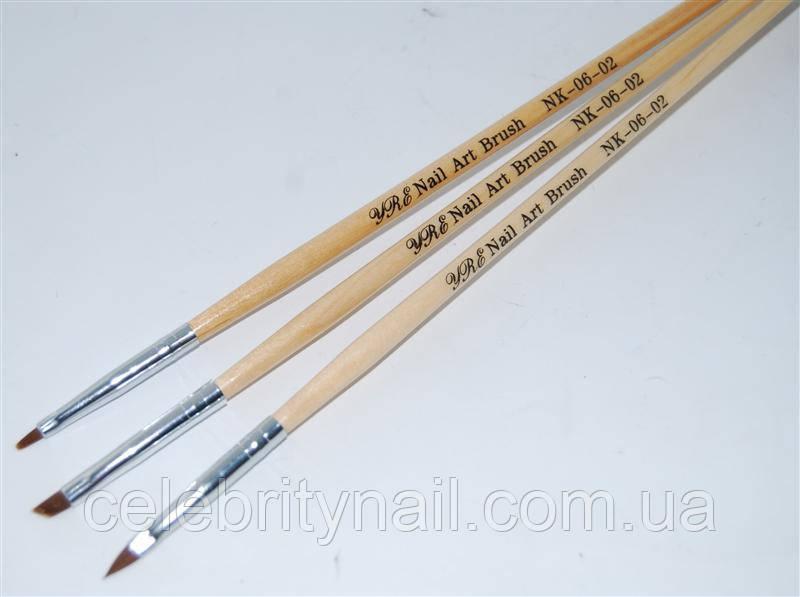 Набор кистей для геля (деревянная ручка) 3 шт., NK-06-02
