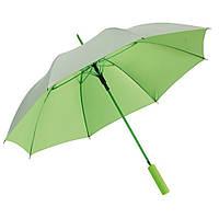 Зеленый зонт-трость, автоматический, рекламный, качественный, под нанесение логотипов