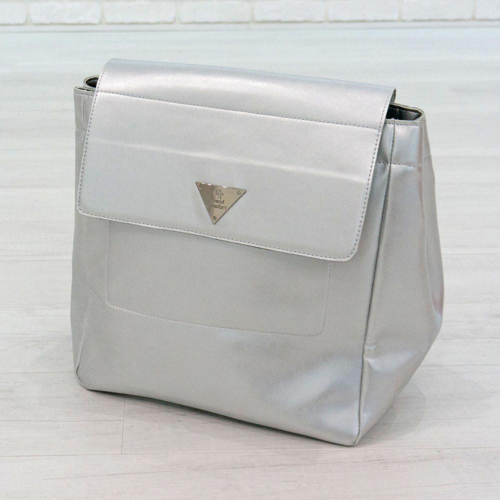 Рюкзак из искусственной кожи серебристый (К-309)