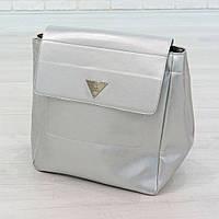 Рюкзак из искусственной кожи серебристый (К-309), фото 1