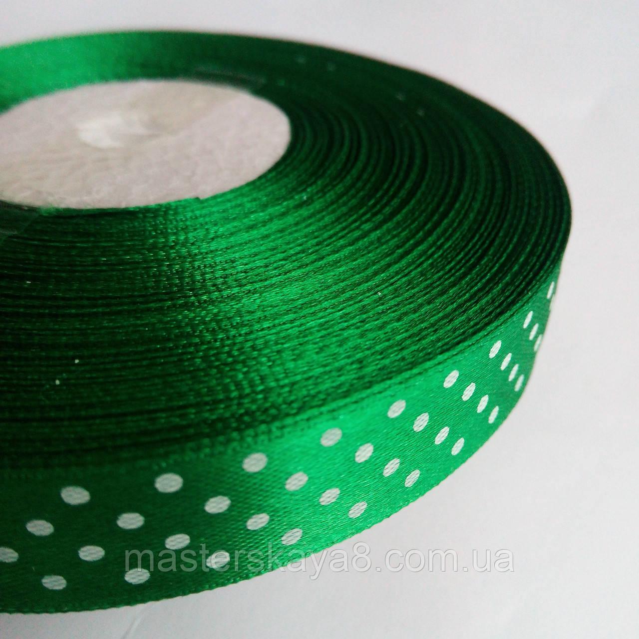 Лента атласная зелёная с горохом 1,5 см