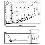 Ванна c гидромассажем 1700*1200*630 мм акриловая правая/левая, Volle 12-88-100/R/L, фото 5