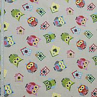 Ткань в детскую для штор совы розовый, красный, голубой фон натуральный лен