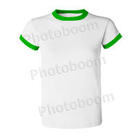 Футболка для сублимации женская, цветная кайма, БЗ S, Зеленая