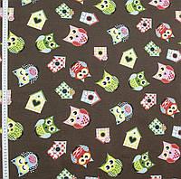 Ткань в детскую для штор совы розовый, красный, зеленый фон коричневый