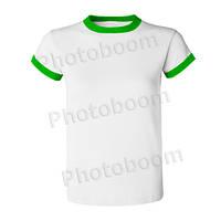 Футболка для сублимации женская, цветная кайма, БЗ L, Зеленая