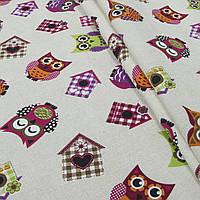 Ткань в детскую для штор совы синий, фиолет, розовый, киви фон натуральный лен