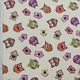 Ткань в детскую для штор совы синий, фиолет, розовый, киви фон натуральный лен, фото 2