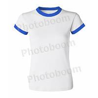 Футболка для сублимации женская, цветная кайма, БЗ XL, Синяя