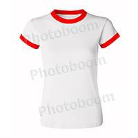 Футболка для сублимации женская, цветная кайма, БЗ XXL, Красная