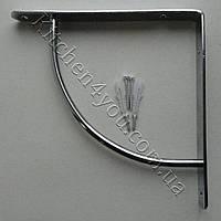 Уголок для полки выгнутый 222х222 мм. хромированный