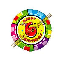 """Фольгированные воздушные шары FLEXMETAL Испания, модель 401575, форма:круг Цифра """"6"""" с днем рождения, 18 дюймо"""