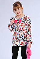 """Асимметричная детская блуза для девочки с принтом """"лабутены"""""""