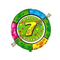 """Фольгированные воздушные шары FLEXMETAL Испания, модель 401575, форма:круг Цифра """"7"""" с днем рождения, 18 дюймо"""