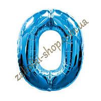 """Фольгированные воздушные шары FLEXMETAL Испания, модель 901760A, цифра """"0"""" синяя, 26""""/66см X 34""""/86см, 1 штука"""